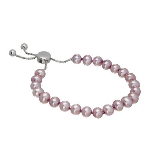 Honora Girl/'s 5-6 mm Lavender Freshwater Pearl Bolo Bracelet in Sterling Silver