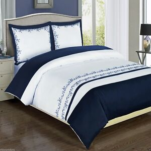 3pc Amalia Navy Blue White Embroidered Duvet Cover Bedding Set - Cotton