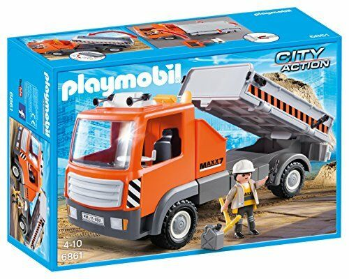 Playmobil 6861 City Action Construction Flatbed Workman s Truck with Tilting Rea