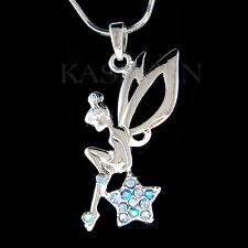 w Swarovski Crystal ~Blue Tinkerbell ANGEL Wing Fairy Tink Star Necklace Jewelry
