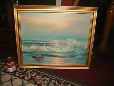 Stunning Y Thomas Nautical Oil Painting-Waves Crashing At Sunset Seagulls-LQQK