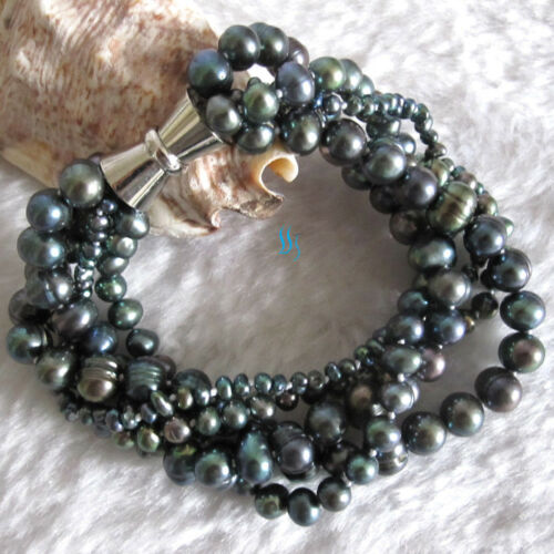 """8/"""" 16/"""" 18/"""" 20/"""" 5Row D/'eau Douce Pearl Bracelet —— plus couleurs"""