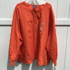 Scrubs-Cherokee-Workwear-Unisex-Snap-Front-Jacket-Top-Orange-Size-5XL-NWT