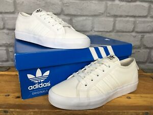 super popular 7f9fe f3042 Image is loading ADIDAS-ORIGINALS-NIZZA-LO-WHITE-TRAINERS-MENS-LADIES-