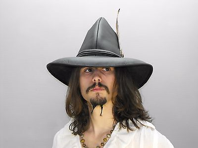 buccaneer brown leather hat pirate feather costume cosplay reenactment cosplay