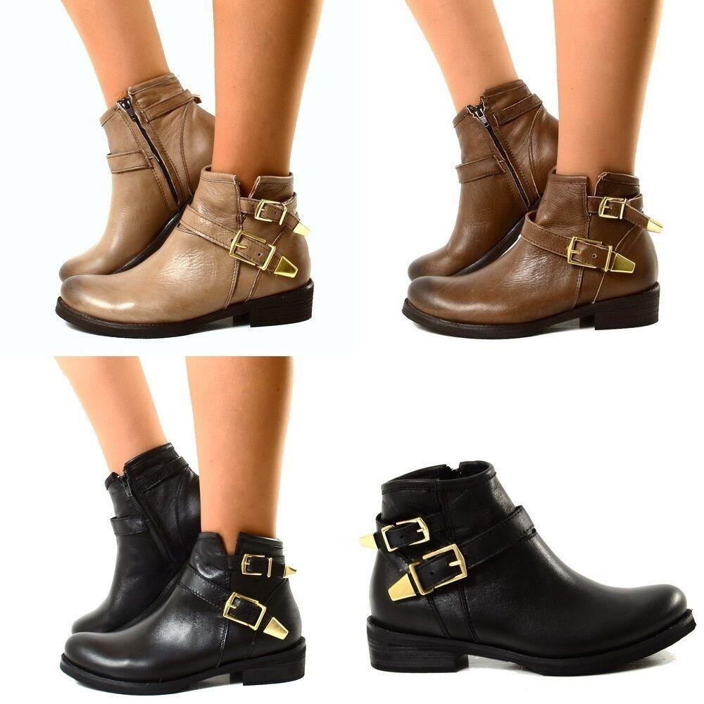 Grandes zapatos con descuento Stivaletti Donna Doppie Fibbie Biker Ankle Boots Stivali MADE IN ITALY Valenti