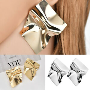 Fashion-Big-Irregular-Metal-Stud-Earrings-Fold-Geometric-Punk-Earrings-For-Women