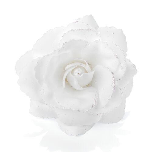 Glitter Rose Flower Hair Elastic Bobble Band Beak Clip Corsage Fascinator 16