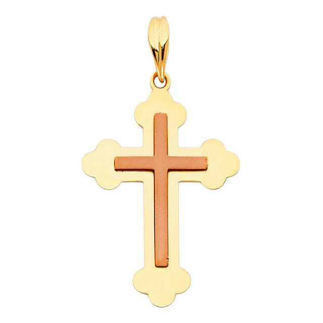 Real 14K Yellow Gold Cross Praying Hands Vintage Outlined Small Pendant Charm