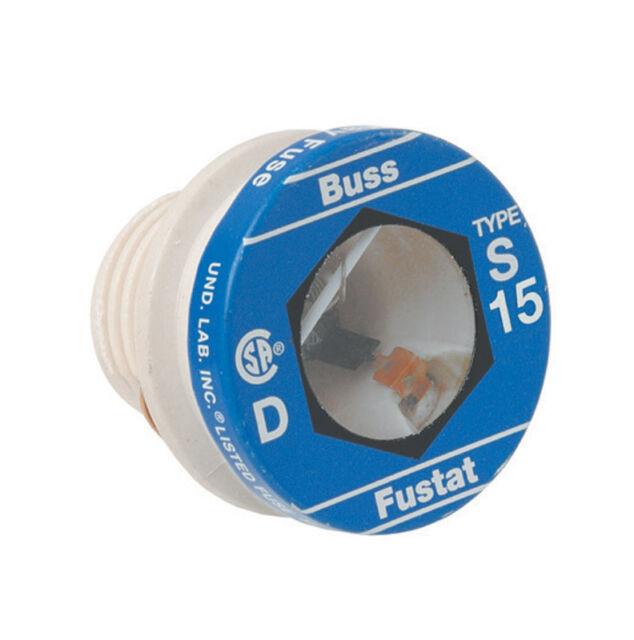 Bussmann S-15 15 Amp Type S Time-Delay Dual-Element Plug Fuse Rejection Base 4PK