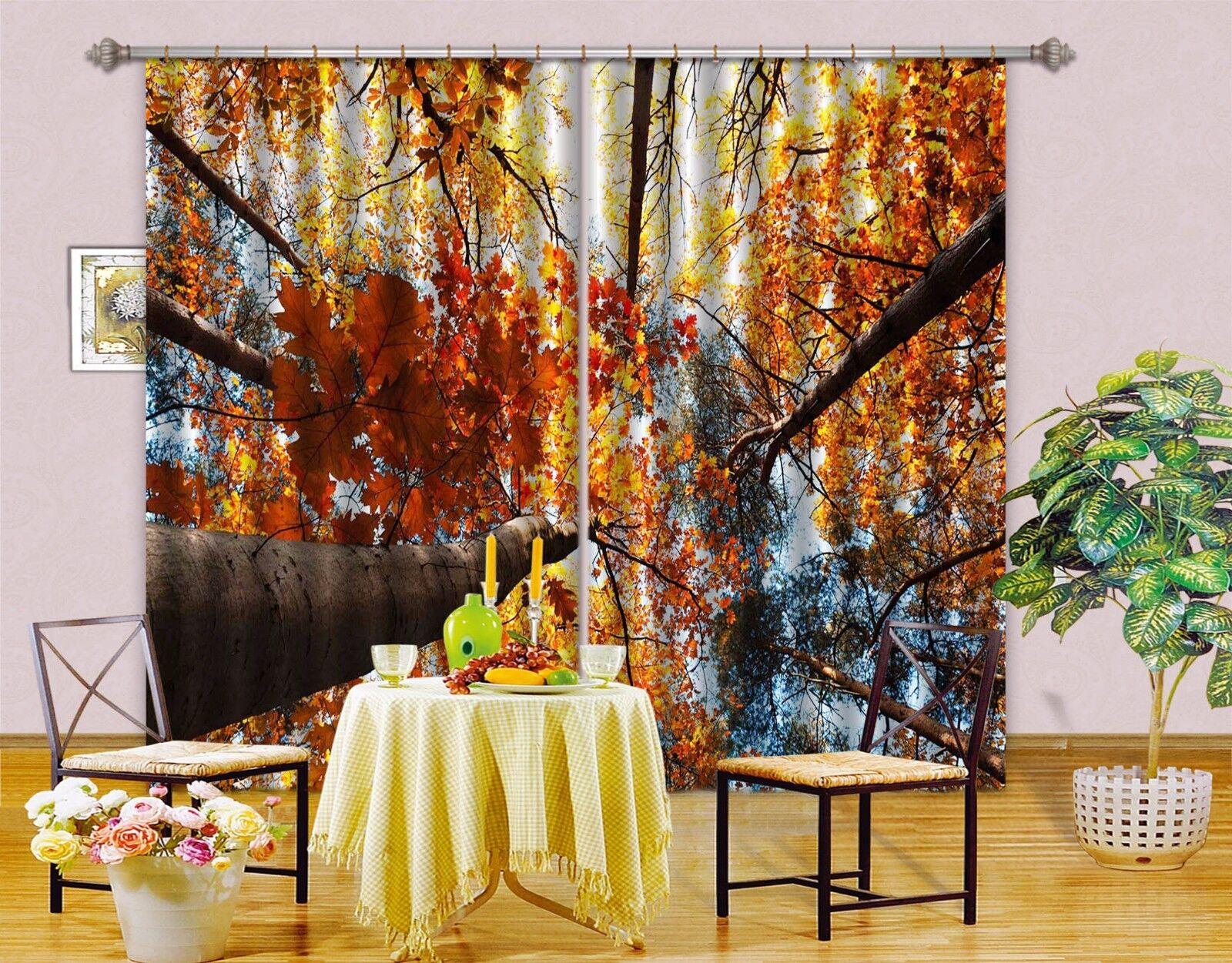 3D Hoja de Arce 639 Cortinas de impresión de cortina de foto Blockout Tela Cortinas Ventana Reino Unido