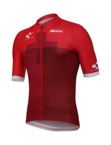 2018 Tour De Suisse CROSS Red Cycling Jersey Made in Italy by Santini
