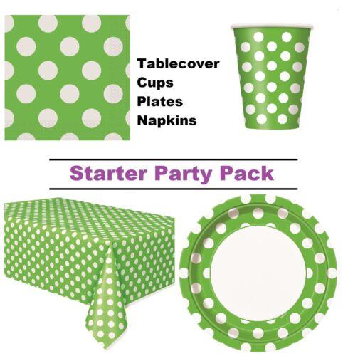 Lime Green Polka Dot 8-48 Guest Starter Party PackCupsPlatesNapkins