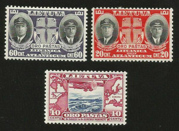 Deadly Vol Kaunas à New York Lituanie Airmail Trois Timbres Non Oblitérés De 1934 Exquis (En) Finition