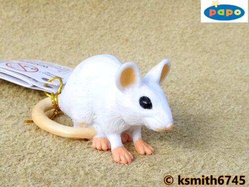 Papo Small Bianco Mouse solido in plastica giocattolo Wild Pet Animale Mammifero Roditore NUOVO *
