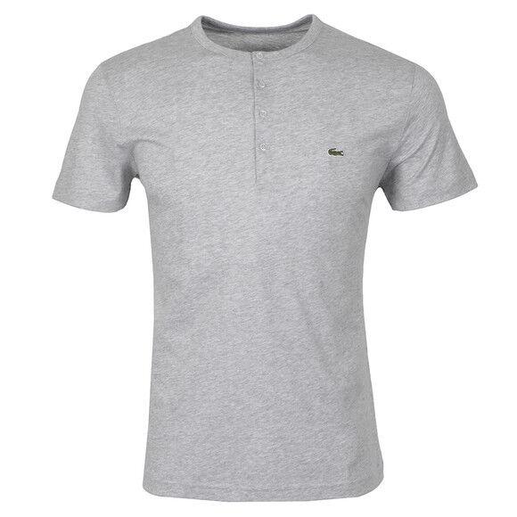 f48a9f73 Lacoste Men's Short Sleeve Henley Jersey Pima Regular Fit T-shirt Silver  Grey Chine 5 US Men