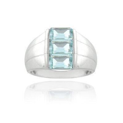 925 Silver Blue Topaz Emerald-Cut Band Ring