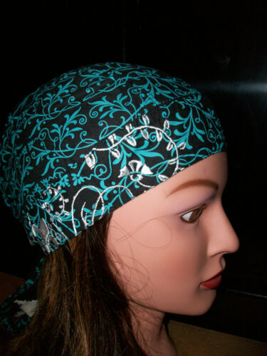 NEW Zan Headwrap Bandanna Womens Head Wrap Hat Skull Cap Teal with Small Skulls