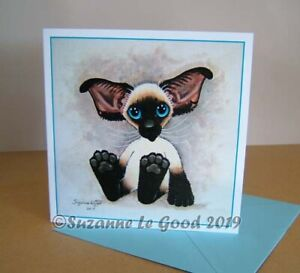 Siamese-Cat-kitten-painting-art-birthday-card-original-design-by-Suzanne-Le-Good