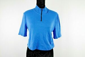 New Wild Fable Blue Women's Mock Neck 1/4 Zip Short Sleeve Cropped Top Size M