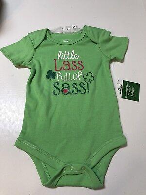 BABY CARTER/'S NEWBORN WEE BIT IRISH ST PATRICK/'S DAY GREEN ONE PIECE NEW #17425