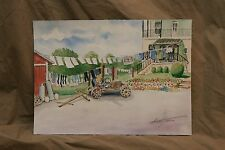 Original Watercolor Stuart Jones Lancaster County PA Amish Wash Day Cart Barn