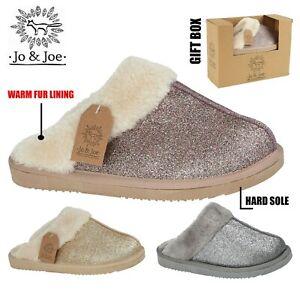 Ladies Slippers Womens Sparkly Warm Fur