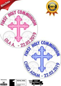 """Personalised 1st First Holy Communion Edible Icing Round Cake Topper GIRL BOY 8/"""""""