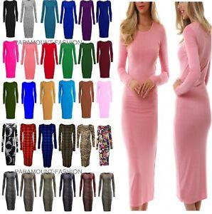 Ladies-Womens-Midi-Long-Sleeve-Stretch-Bodycon-Plain-Jersey-Maxi-Dress-Plus-Siz