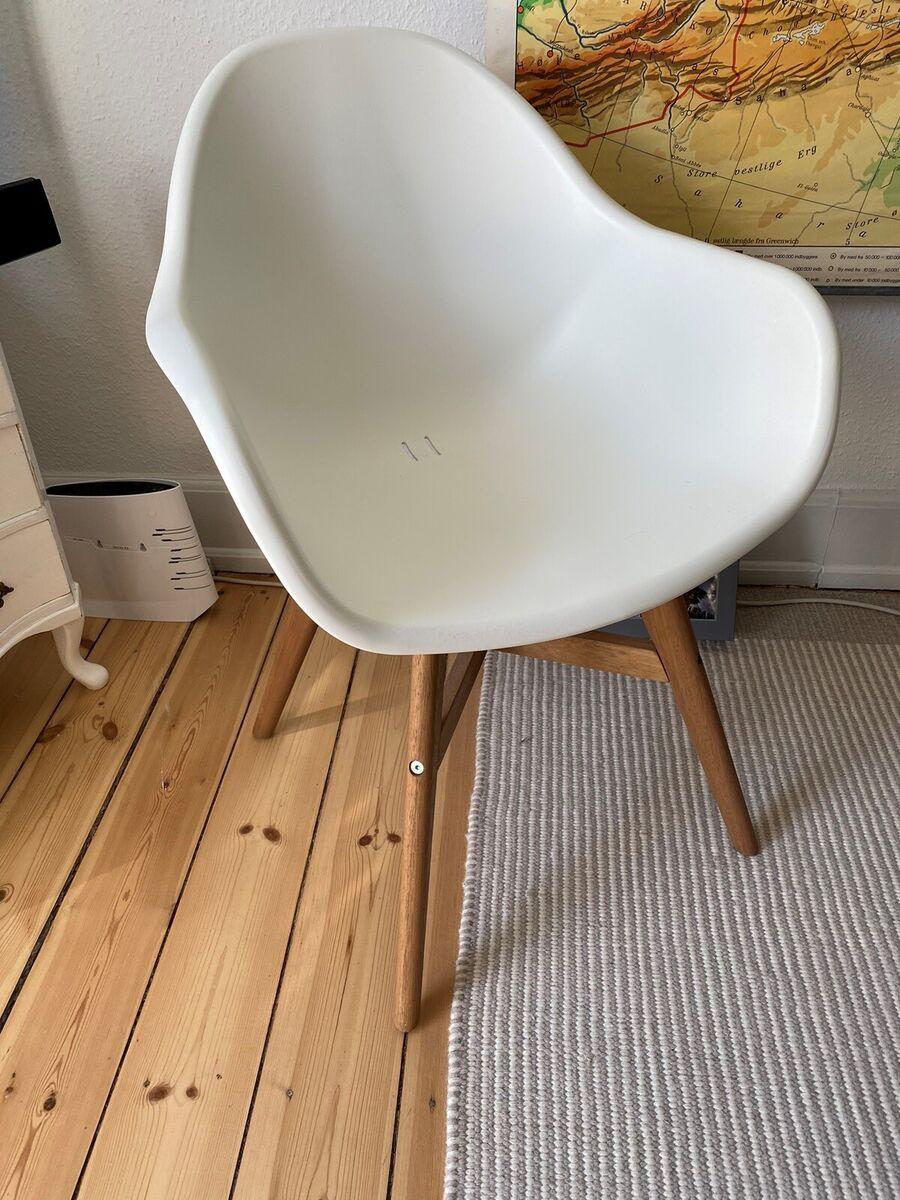Spisebordsstol, Plast og træ, IKEA, FANBYN stol i hvid. H