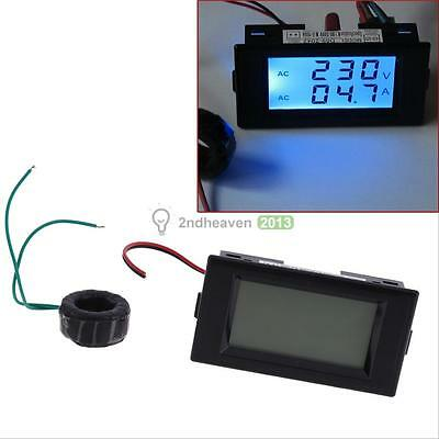 Digital AC 80-300V Amperage Meter 100A LCD Dual Panel Volt Combo Power Energy