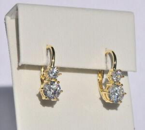 Echt-925-Sterling-Silber-Ohrringe-Ohrhaenger-Zirkonia-crystal-gelbgold-Nr-428