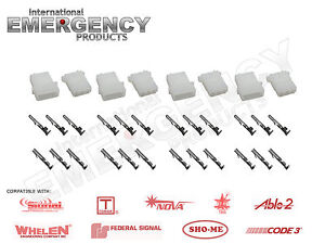 4-Set-Strobe-3pin-Connector-AMP-Power-Supply-Bulb-Cable-for-Whelen-Federal-Code3