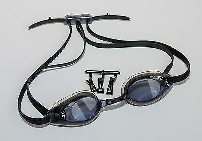 Left & Right Different Powers Deluxe Prescription Swimming Goggles Black Adult