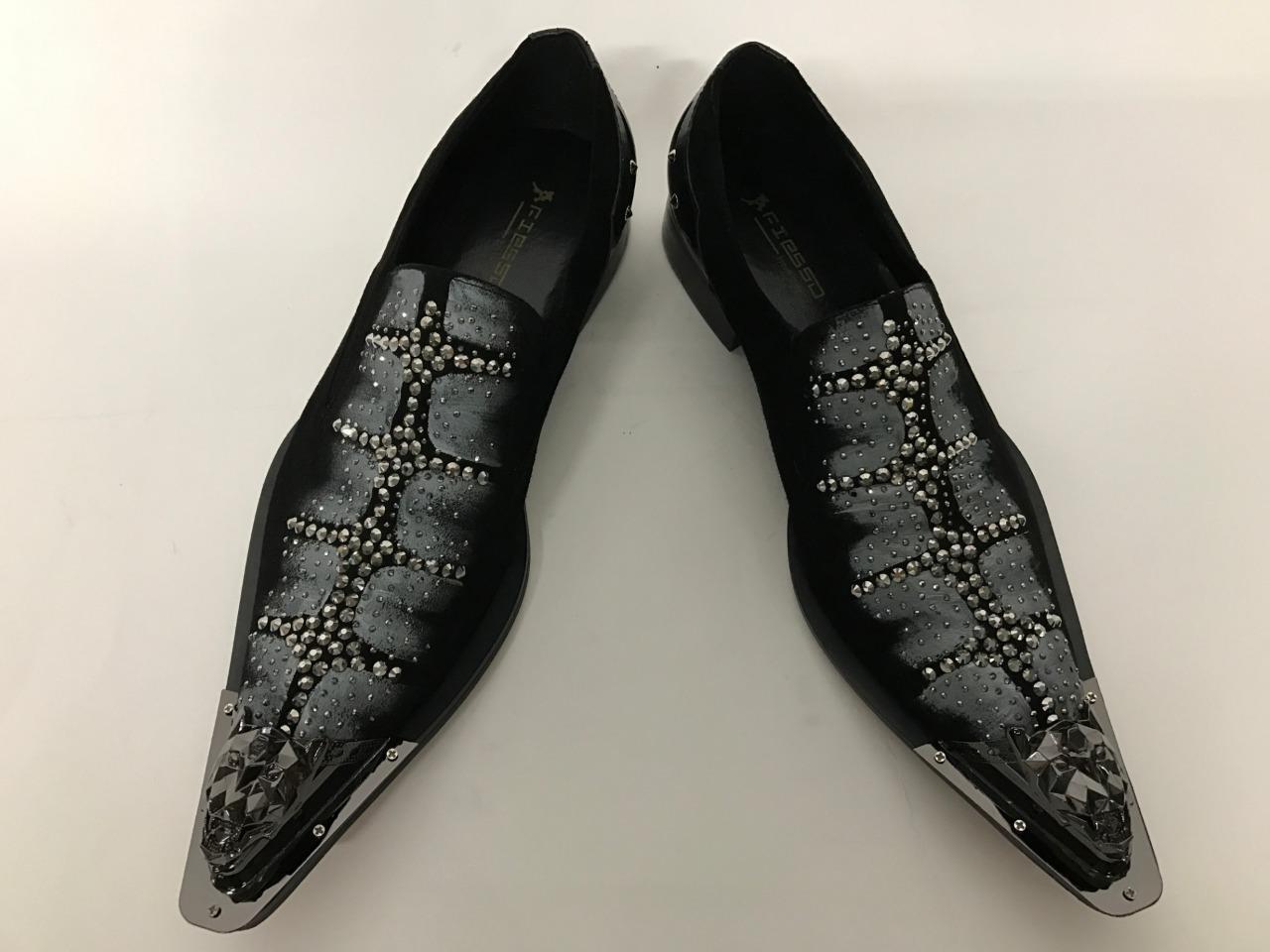 Hombre Cordones Fiesso ante Negro con Pedrería Tachuelas sin Cordones Hombre Zapatos 6f669c