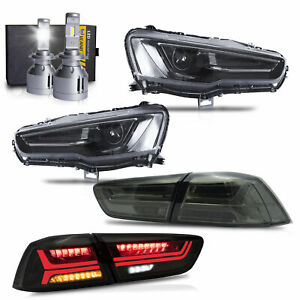ALL-BLACK-Dual-Beam-Headlights-SMOKE-Taillights-H7-LED-Bulbs-for-08-17-Lancer