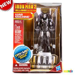 MARVEL-IRON-MAN-2-Hall-of-Armor-Collection-machine-de-guerre-Figure-Light-Up-Base-Nouveau