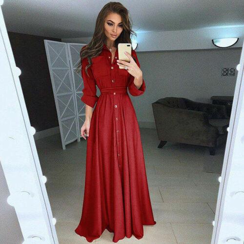 Women Casual Loose Button Long Shirt Dress Long Sleeve Evening Party Maxi Dress