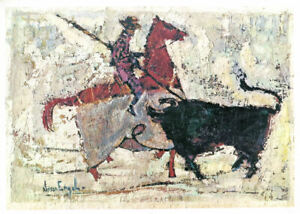 Nissan Engel Israeli El Picador Bullfight Vintage Offset Lithograph