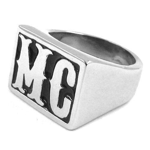MC Motorrad Club Biker Outlaw Sons Anarchy massiver Edelstahl Ring Siegelring