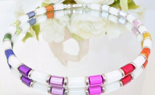 Halskette Collier Halsreif Walzen weiß rot grün blau gelb mehrfarbig silber 078c