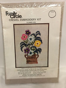 Vintage-Family-Circle-Crewel-Embroidery-Kit-Flower-Jug-Complete-A6-11