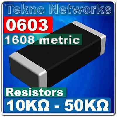 0603 ( 1608 Metric ) SMD / SMT Resistors - 100pcs [ Range: 10K - 50K Ohm ]