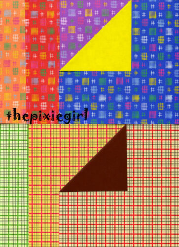 ORIGAMI PAPER CHECKERED DOUBLE SIDED PRINT 28 SHEETS INSTR FOR SHIRT DRESS DOLLS