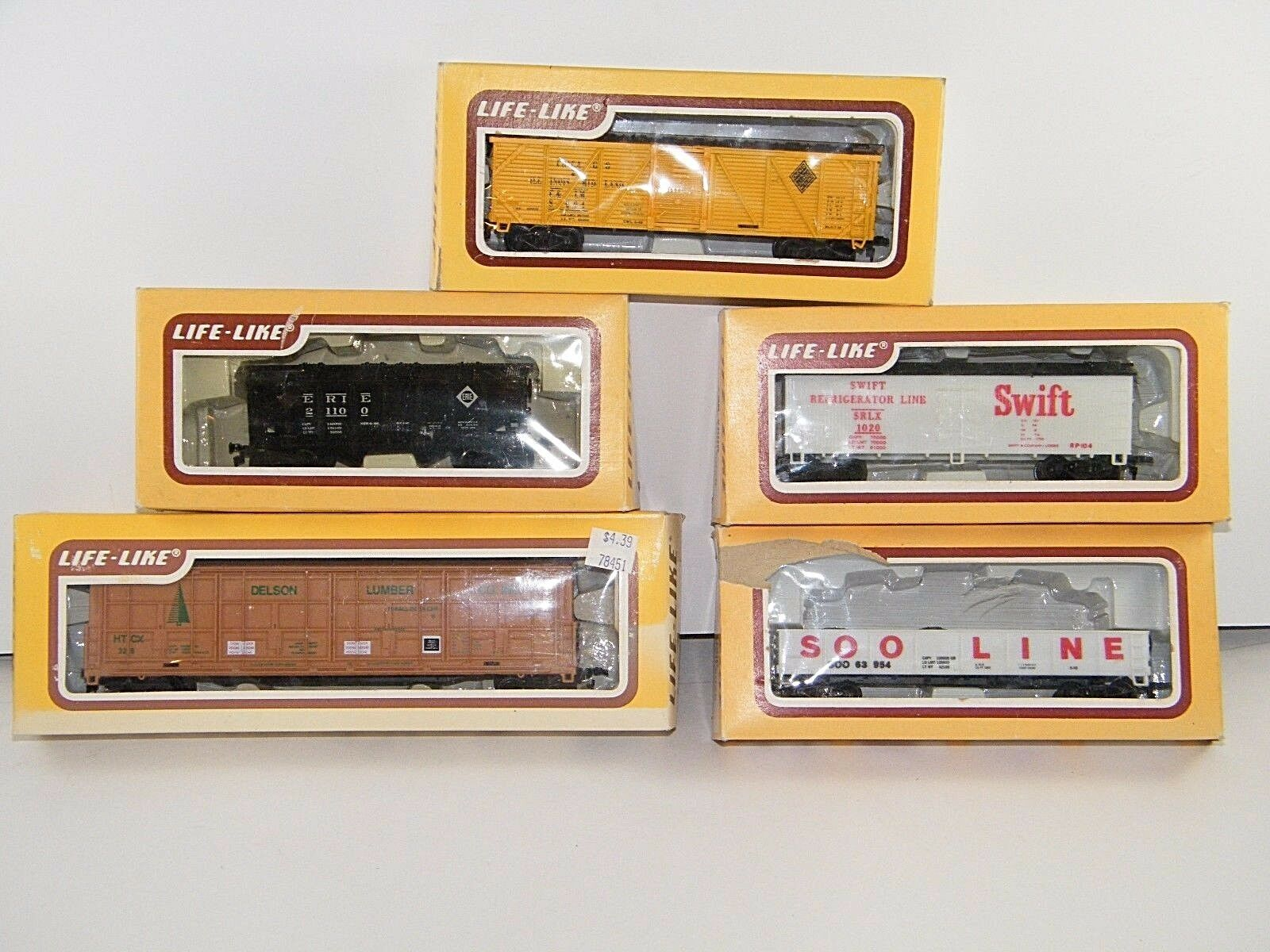 (5) LIFE-LIKE HO SCALE  VARIOUS CARS   's 8499, 8572, 8568, 8482  USED IN BOX