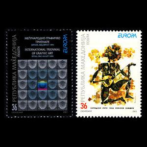 Macedonia-2003-EUROPA-Stamps-Poster-Art-Sc-264-5-MNH
