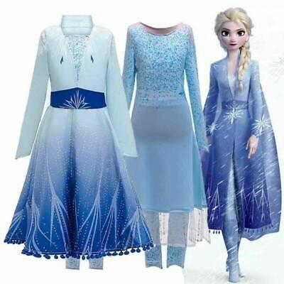 Frozen Princess Queen Elsa Cosplay Costume Party Fancy Dress Elsa3# UK STOCK