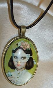 Necklace-Pendant-GIRL-w-MASK-amp-BLUE-BUTTERFLY-OVAL-BUBBLE-GLASS