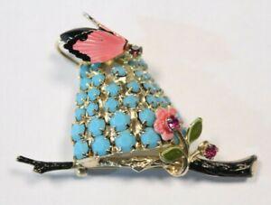 Adorable-HOBE-Brooch-Figural-Beehive-Rhinestone-Butterfly-Vintage-1950s