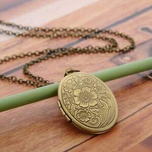 Oval-Carved-Flower-Locket-Pendant-Necklace-Women-Vintage-Photo-Box-Jewelry-Gift